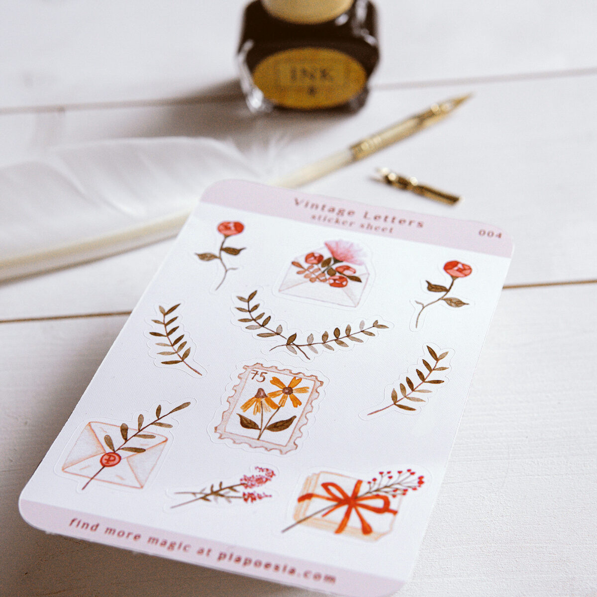 pia poesia vintage letters sticker sheet (c)